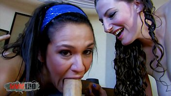 Crazy deepthroat tube Two hot sluts going crazy on a single cock