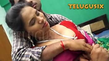Telugu Aunty Big Boobs pressed by Boyfriend