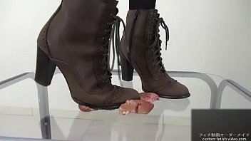 Crush marshmallows with boots