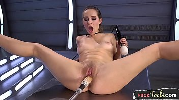 Excessive pleasure machine Anally drilled babe pleasured by huge dildo