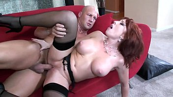 Amature redhead thigh highs Big boobed redhead fucking in thigh high nylons