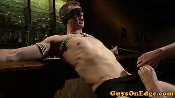 Gay tickle torture and edging Muscled bdsm sub cocksucked and jerked