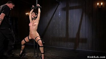 Clamped tits brunette pussy vibrated