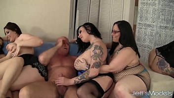 8 horny plumpers sharing 2 fat cocks