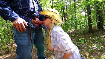Outdoor Sloppy Blowjob Busty Amateur image