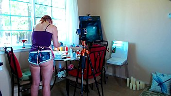 Hot non nude ass Behind the scenes painting