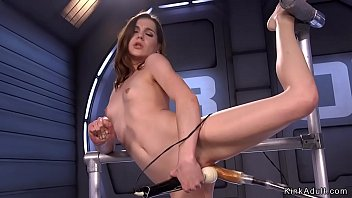 Flexible brunette beauty fucking machine