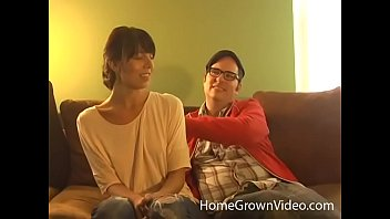 Nerdy hipster gets to fuck a skinny brunette cutie