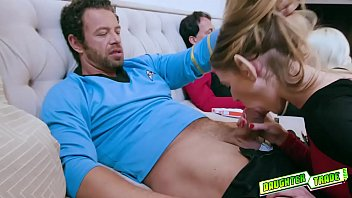 Babes Riley Kay and Violet Storm pleases each other dads huge meats sucking and slobbering