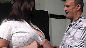 Boss bangs brunette fatty in fishnets from behind