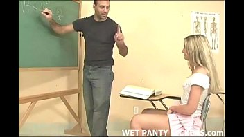 Schoolgirls panties get wet during class