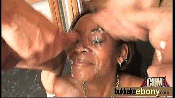Nasty ebony interracial bukkake 19