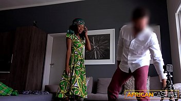 Amateur In African Dress Strips Down and Please White Cock