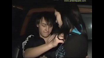 Cute girl is picked up and fucked in a moving car