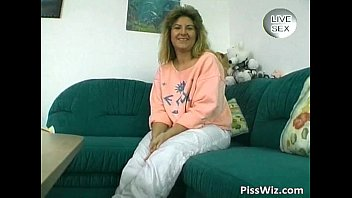 Horny MILF brunette piss and fuck her