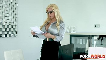 Hot and horny boss Blondie Fesser's pussy banged doggy style in the office