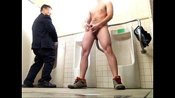 Bathroom gay jerking off porn