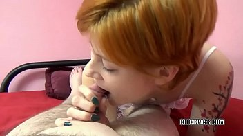 Redhead hottie Ava Little is blowing a lucky old dude