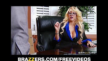 Busty blonde MILF offers her intern a job if he can fuck her right