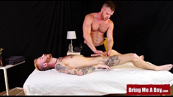 Inked ginger twink ass barebacked by muscular masseur daddy