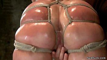Tied huge ass blonde riding dildo