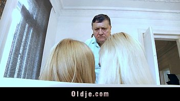 Old man and teen tgp - Fat old man rimmed and sucked by two blonde teens
