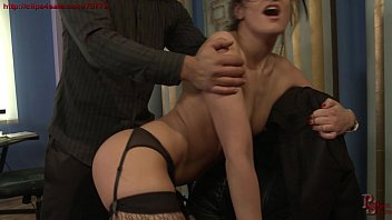 Gorgeous secretary punished in the office.