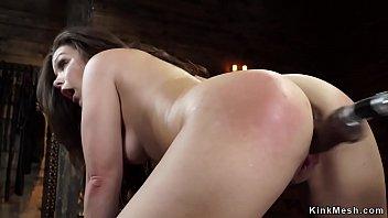 Hot ass brunette fucks machine