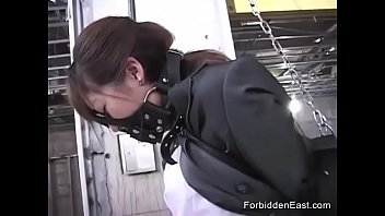 Japanese hardcore bondage - Submissive japanese business woman in leather bound and masked
