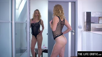 Cute Sexy Blonde Watches Herself In The Mirror As She Masturbates