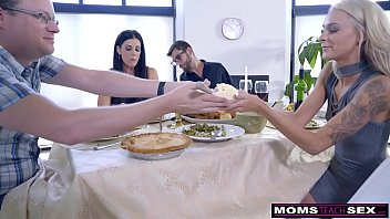 Moma and son fuck Mom fucks son eats teen creampie for thanksgiving treat