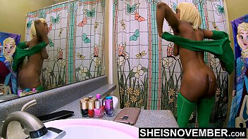 Washing Step Dad Cumshot Off Of My Ass, Cute Black Step Daughter Msnovember Shower After Father Ejaculate Load Her Her Ass, Undressing Huge Natural Areolas And Saggy Udders 4k by Sheisnovember