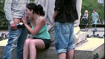 Celebrity boobs public - Pretty teen girl public gangbang in front of a famous statue