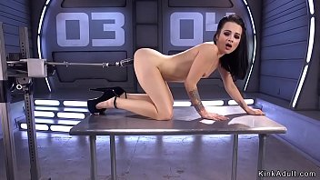 Small tits skinny ass brunette fucks machine