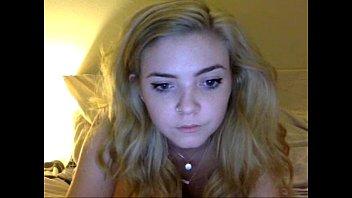 Nice blonde in front of webcam !