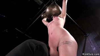 Babe on Sybian takes bastinado