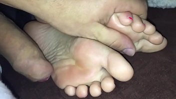 Cum on her feet while she sleeps! Real feet at www.camsxposed.com