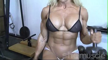 Amateur radio antenna building supplies Sexy blonde female bodybuilder in see through top works out