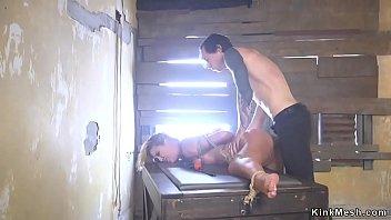 Busty Milf hard anal banged in bondage