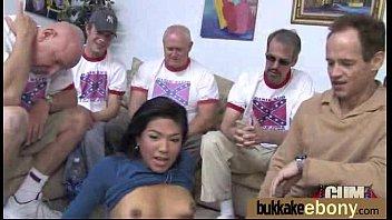 Interracial bukkake sex with black porn star 10