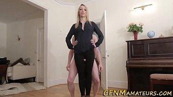 Cfnm domina tugging dick