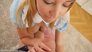 Porn alice in wonderland Blonde teen cosplays alice in wonderland and gives a blowjob