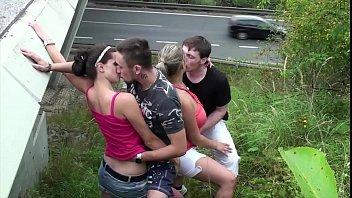 Cum on big tits in public gang bang foursome porno izle