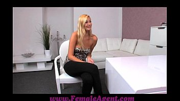 FemaleAgent Tall blonde beauty in outstanding lesbian casting thumbnail