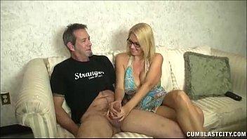 Huge - Titted Milf Enjoys Jerking Cocks thumbnail