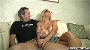 Huge cum oad Huge-titted milf enjoys jerking cocks