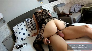 Girl in BodyStocking Riding on Big Cock! View From Selfie Stick! AliceMargo.com thumbnail