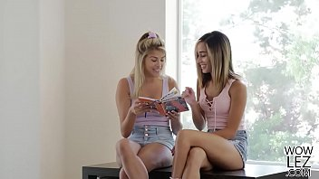 College girls sex in bed - Teen babes having lesbian sex in their tutors bed - stephanie west and averie moore