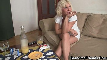 Lonely granny swallows two cocks