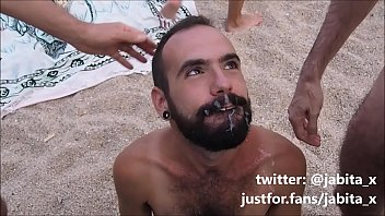 Bukkake on the beach with 5 dicks